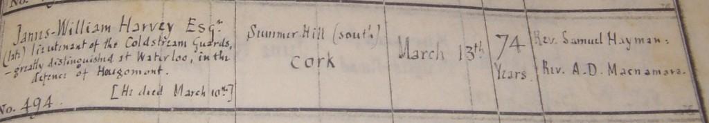 Excerpt from Burial Register, St. Luke's Church, Douglas.