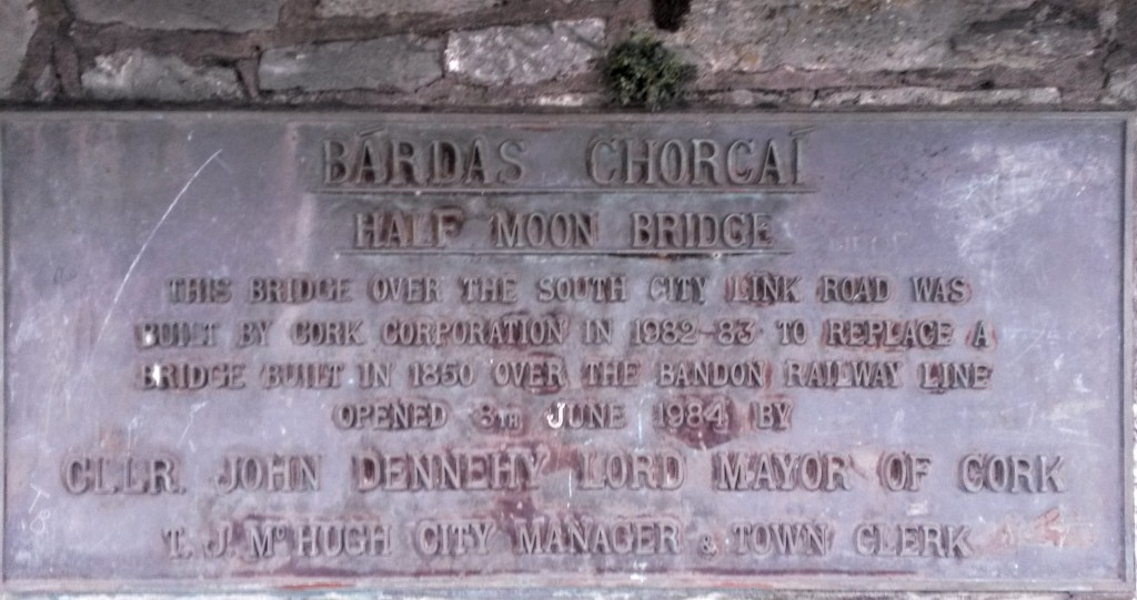 'Official opening' plaque, Half Moon Bridge, Cork