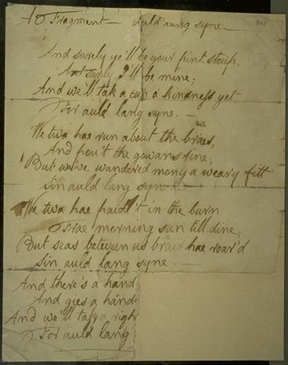 Robert Burn's most famous composition 'Auld Lang Syne'